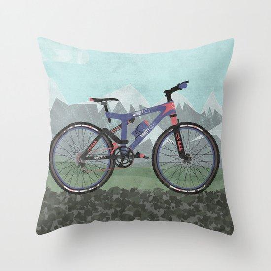 Throw Pillows With Bikes : Mountain Bike Throw Pillow by Wyatt Design Society6