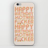 happy birthday iPhone & iPod Skins featuring Happy Birthday by Vickn