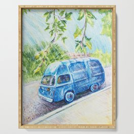 Summer landscape with a mini bus sketch colored pencils Serving Tray