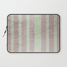 Pastel vintage green faux rose gold elegant stripes Laptop Sleeve