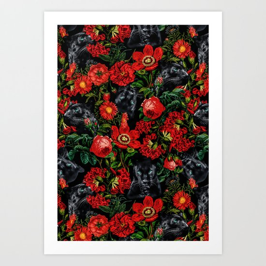 Panther and Floral Pattern XO Art Print