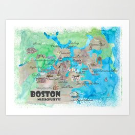 Boston Favorite Map with touristic Top Ten Highlights in colorful retro style Art Print