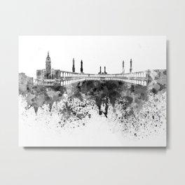 Mecca skyline in black watercolor Metal Print