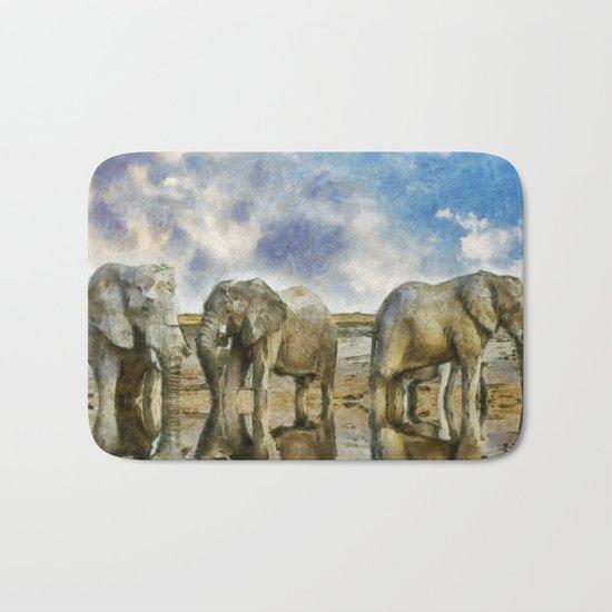 Elephants Drinking Bath Mat