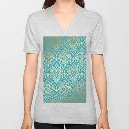 Teal Gold Mermaid Damask Pattern Unisex V-Neck