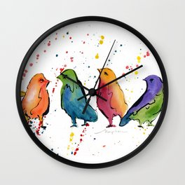 Colorful Birds Chit Chat 2 Wall Clock