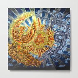Chinese Phoenix and Dragon Mandala Metal Print
