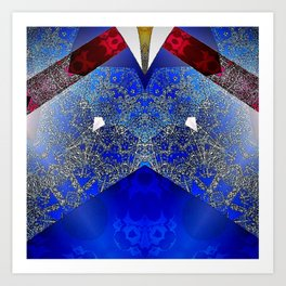 Royalty Inspired Blue Red Gold Abstract Art Print
