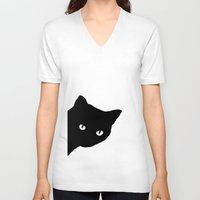meow V-neck T-shirts featuring Meow by Sherry Yuan