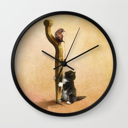 The Cat, the Bird and the Mouse Wall Clock