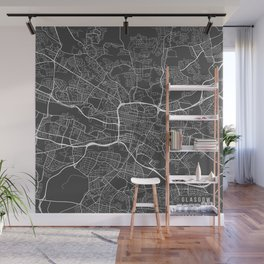 Glasgow Map, Scotland - Gray Wall Mural