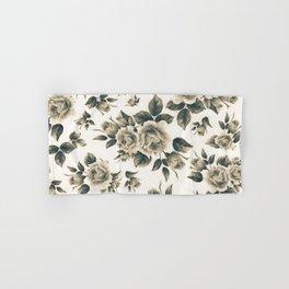 Country chic vintage black white bohemian floral Hand & Bath Towel
