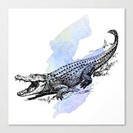 Florida Alligator on Purple Blue Green Watercolor Canvas Print