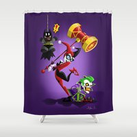 harley Shower Curtains featuring Harley Quinn by The Art of Eileen Marie