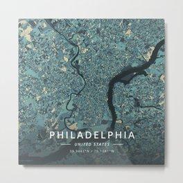 Philadelphia, United States - Cream Blue Metal Print