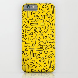 Hand Draw Black Yellow Geometric Memphis Pattern 80s 90s iPhone Case