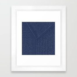 Lines (Navy) Framed Art Print
