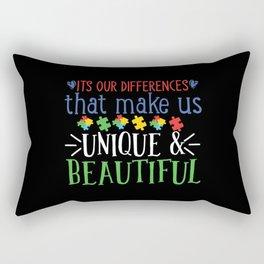 World Autism Awareness Day Gift Autism Gift Idea Black Background Rectangular Pillow