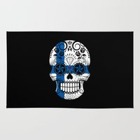 finland Area & Throw Rugs featuring Sugar Skull with Roses and Flag of Finland by Jeff Bartels