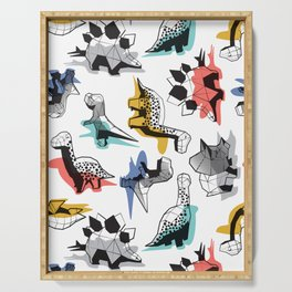 Geometric Dinos // non directional design white background multicoloured dinosaurs shadows Serving Tray