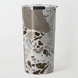 Vintage Terrazzo Monochromatic Gray and White Travel Mug