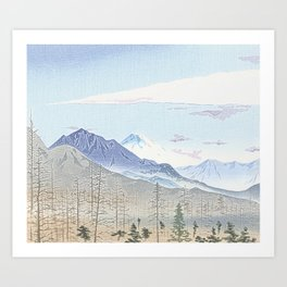 Mountains and firs - Fuji Art Print