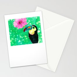Toucan parrot with hibiscus in watercolor Stationery Cards