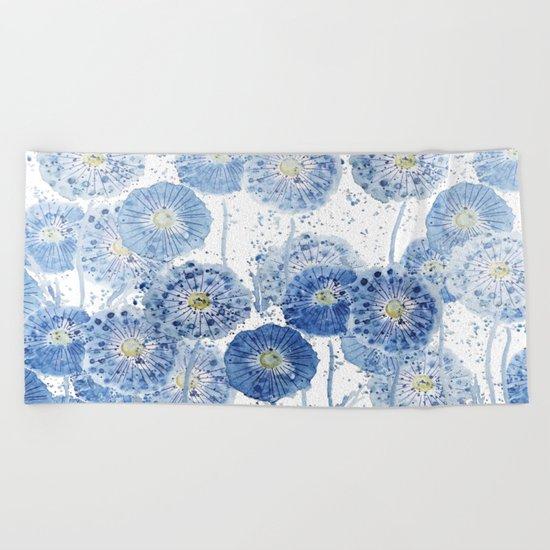 blue indigo dandelion pattern watercolor Beach Towel