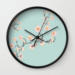Sakura Cherry Blossoms x Mint Green Wall Clock
