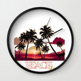 Beach Life Sea Sunset Coconut Trees  Shore Gift  Wall Clock