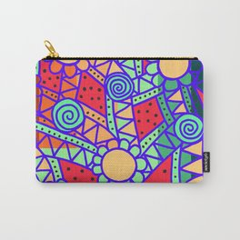 Doodle Art Flower - Pathways - Red Blue Carry-All Pouch