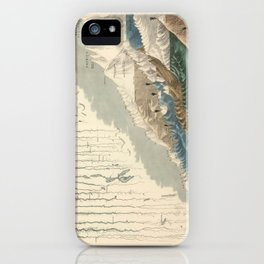 1854 Comparative Lengths of Rivers and Heights of Mountains iPhone Case