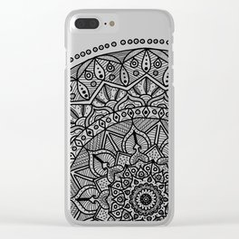 Circle of Life Mandala Black and White Clear iPhone Case