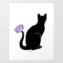 Flower Cat Purple Art Print