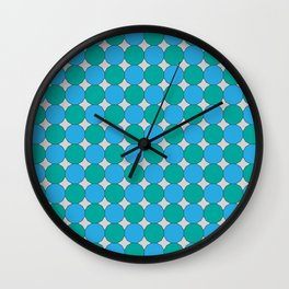Teal and Turquoise Dodecagons on Silver Wall Clock