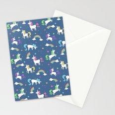 Unicorns and Rainbows - blue -tiny Stationery Cards