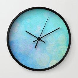 Flowers Bloom in Teal Wall Clock