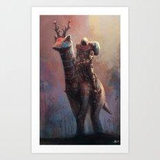 Creature rider long neck Art Print