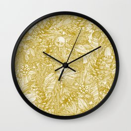 forest floor gold ivory Wall Clock