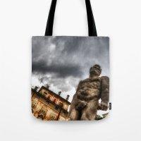 hercules Tote Bags featuring Hercules' statue by Roberto Pagani