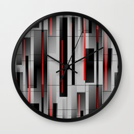 Off the Grid - Abstract - Gray, Black, Red Wall Clock