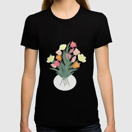 Bouquet of tulips in glass vase T-shirt