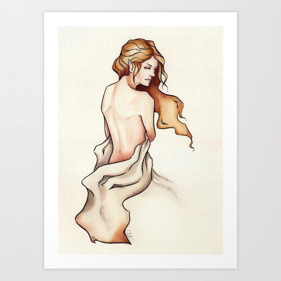 Draped Nude Elf Art Print