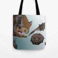 bats Tote Bags featuring Bats by Akira Hikawa