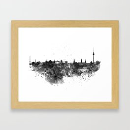 Black and white Berlin watercolor skyline Framed Art Print