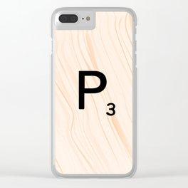 Scrabble Letter P - Large Scrabble Tiles Clear iPhone Case