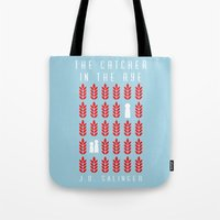 catcher in the rye Tote Bags featuring The Catcher in the Rye by BaconFactory