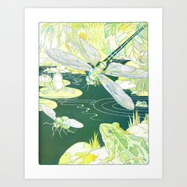 Nature Pond scene with a Dragonfly, Frogs & a Hornet by Harrison Cady Art Print