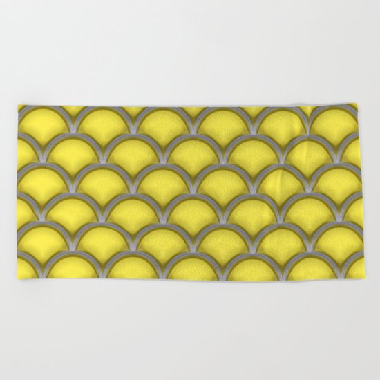 Large scallops in buttercup yellow Beach Towel