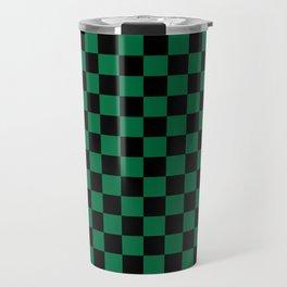 Black and Cadmium Green Checkerboard Travel Mug